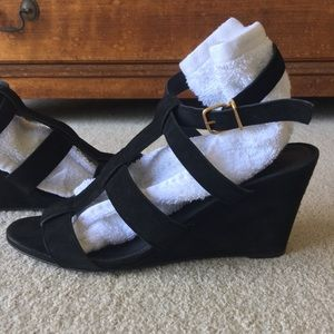 J.Crew Strappy Caged Black Suede Wedge Sandal Sz 9 for sale